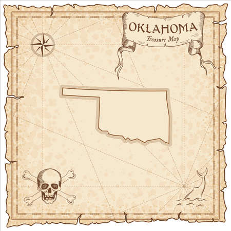 Oklahoma pirate map. Ancient style map template. Old us state borders. Vector illustration.  イラスト・ベクター素材