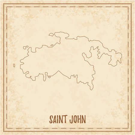 Pirate map of Saint John. Blank vector map of the Island. Vector illustration.  イラスト・ベクター素材