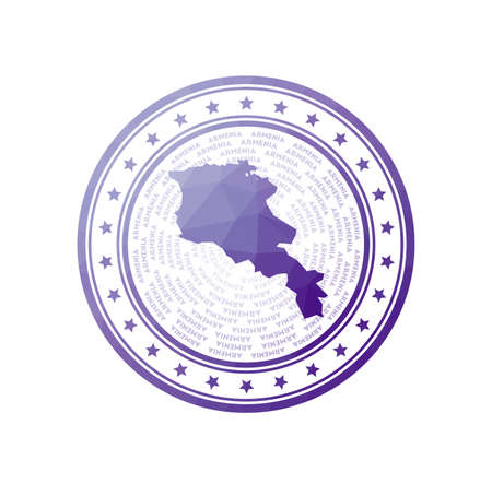 Flat low poly stamp of Armenia. Polygonal Armenia badge. Trendy vector   of the country.