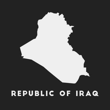 Republic of Iraq icon. Country map on dark background. Stylish Republic of Iraq map with country name. Vector illustration.  イラスト・ベクター素材