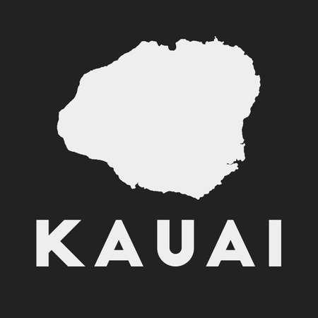 Kauai icon. Island map on dark background. Stylish Kauai map with island name. Vector illustration.