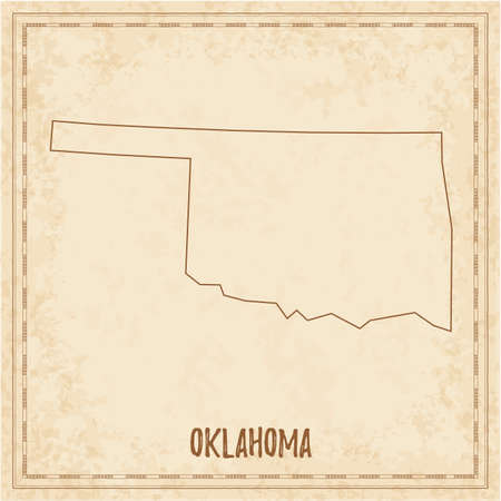 Pirate map of Oklahoma. Blank vector map of the Us State. Vector illustration.  イラスト・ベクター素材