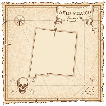 New Mexico pirate map. Ancient style map template. Old us state borders. Vector illustration.  イラスト・ベクター素材