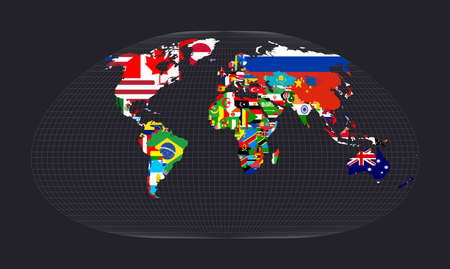 Map of the world with flags. Loximuthal projection. Map of the world with meridians on dark background. Vector illustration.  イラスト・ベクター素材