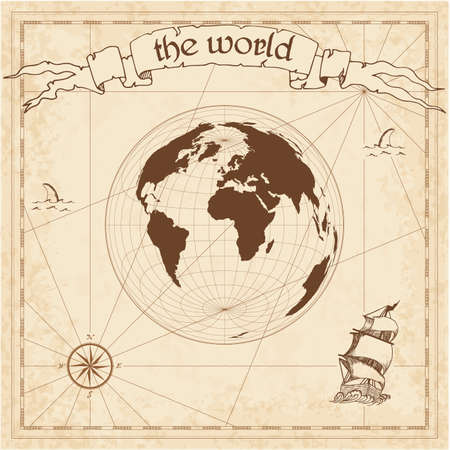 World pirate map. Ancient style navigation atlas. Lambert azimuthal equal-area projection. Old map vector.