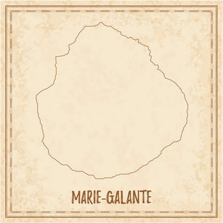Pirate map of Marie-Galante. Blank vector map of the Island. Vector illustration.