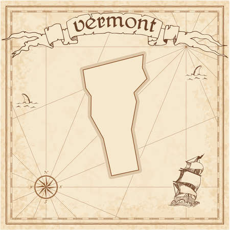 Vermont treasure map. Ancient style map template. Old us state borders. Vector illustration.