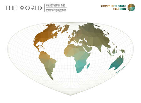 Low poly design of the world. Bottomley projection of the world. Brown Blue Green colored polygons. Neat vector illustration.  イラスト・ベクター素材