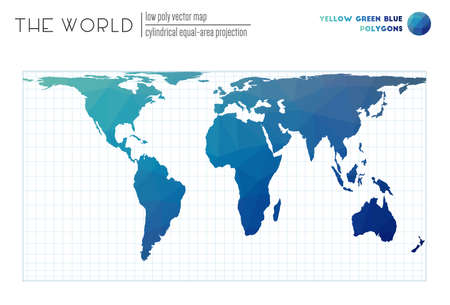 Low poly design of the world. Cylindrical equal-area projection of the world. Yellow Green Blue colored polygons. Creative vector illustration.  イラスト・ベクター素材
