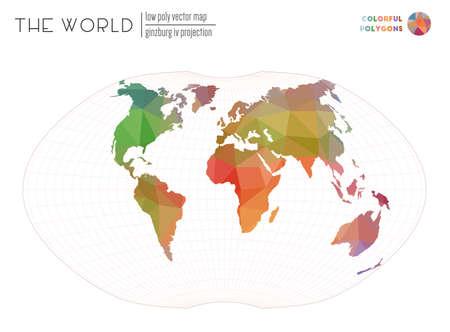 Polygonal map of the world. Ginzburg IV projection of the world. Colorful colored polygons. Elegant vector illustration.  イラスト・ベクター素材
