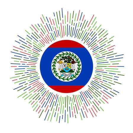 Belize sign. Country flag with colorful rays. Radiant sunburst with Belize flag. Vector illustration.