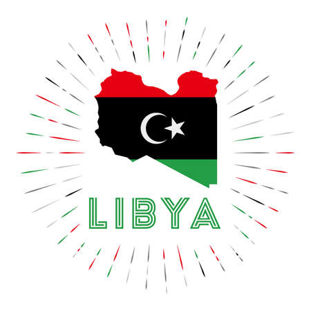 Libya sunburst badge. The country sign with map of Libya with Libyan flag.