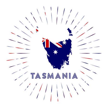 Tasmania sunburst badge. The island sign with map of Tasmania with Australian flag.