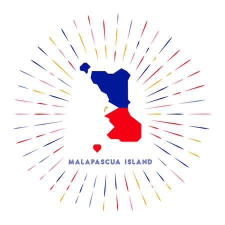Malapascua Island sunburst badge. The island sign with map of Malapascua Island with Filipino flag.  イラスト・ベクター素材