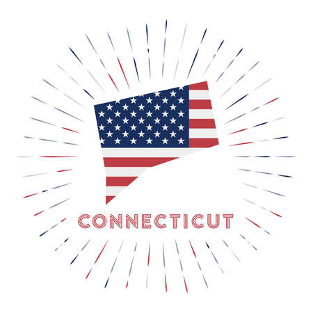 Connecticut sunburst badge. The us state sign with map of Connecticut with American flag.  イラスト・ベクター素材