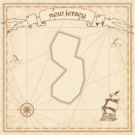New Jersey treasure map. Ancient style map template. Old us state borders. Vector illustration.