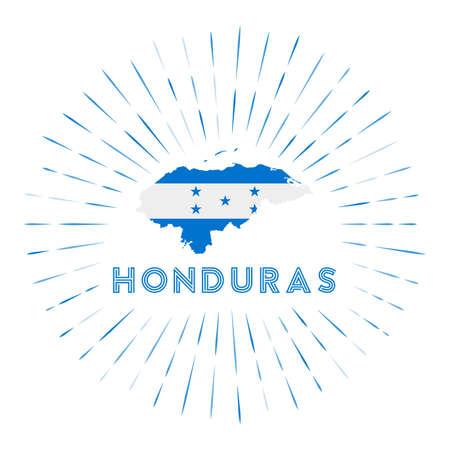 Honduras sunburst badge. The country sign with map of Honduras with Honduran flag.
