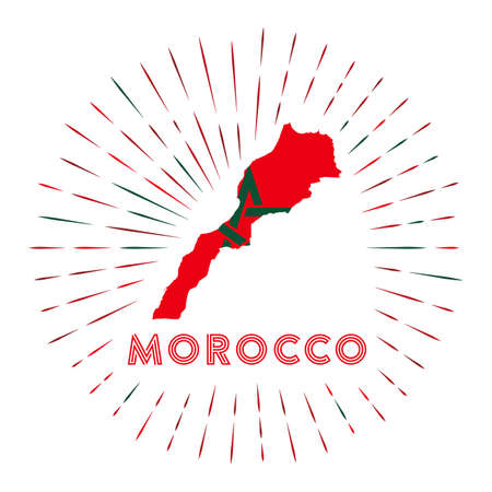 Morocco sunburst badge. The country sign with map of Morocco with Moroccan flag.  イラスト・ベクター素材