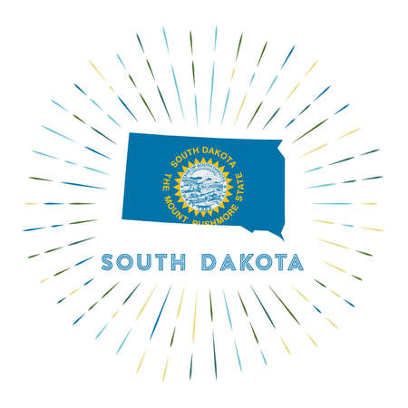 South Dakota sunburst badge. The us state sign with map of South Dakota with state flag.