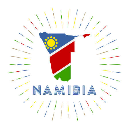 Namibia sunburst badge. The country sign with map of Namibia with Namibian flag.