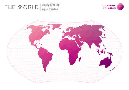 Polygonal map of the world. Wagner projection of the world. Red Purple colored polygons. Trending vector illustration.  イラスト・ベクター素材