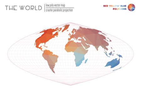 Vector map of the world. Craster parabolic projection of the world. Red Yellow Blue colored polygons. Creative vector illustration.