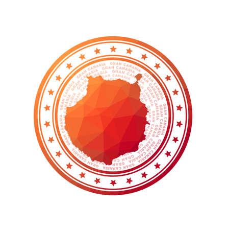 Flat low poly stamp of Gran Canaria. Polygonal Gran Canaria badge.