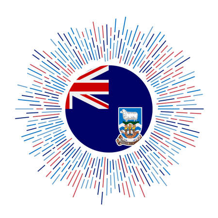 Falklands sign. Country flag with colorful rays. Radiant sunburst with Falklands flag. Vector illustration.