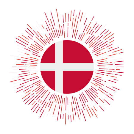 Denmark sign. Country flag with colorful rays. Radiant sunburst with Denmark flag. Vector illustration.  イラスト・ベクター素材