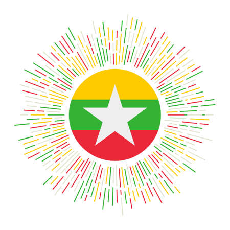 Myanmar sign. Country flag with colorful rays. Radiant sunburst with Myanmar flag. Vector illustration.  イラスト・ベクター素材