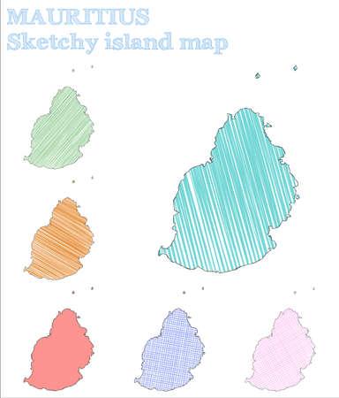 Mauritius sketchy island. Classy hand drawn island. Creative childish style Mauritius vector illustration.