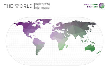 Abstract geometric world map. Eckert III projection of the world. Purple Green colored polygons. Energetic vector illustration.