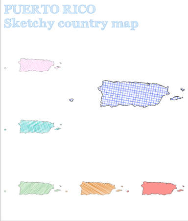 Puerto Rico sketchy country. Admirable hand drawn country. Alive childish style Puerto Rico vector illustration.