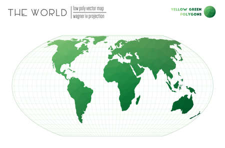 Polygonal world map. Wagner IV projection of the world. Yellow Green colored polygons. Trending vector illustration. Illusztráció