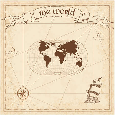 World pirate map. Ancient style navigation atlas. Laskowski tri-optimal projection. Old map vector.