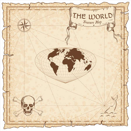 World treasure map. Pirate navigation atlas. Bottomley projection. Old map vector.