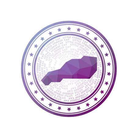 Flat low poly stamp of Little Stirrup Cay. Polygonal Little Stirrup Cay badge.