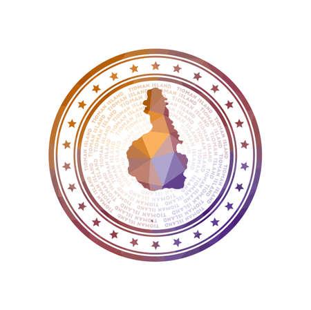 Flat low poly stamp of Tioman Island. Polygonal Tioman Island badge.