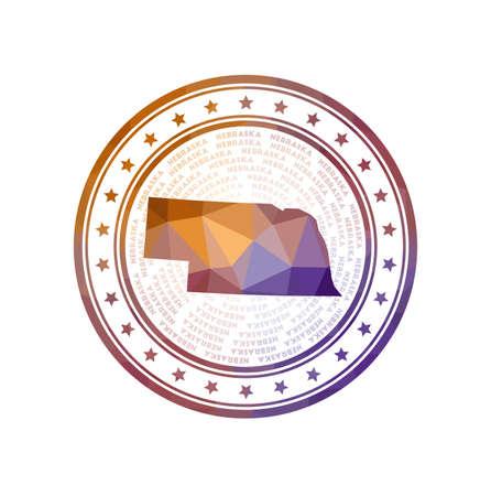 Flat low poly stamp of Nebraska. Polygonal Nebraska badge.