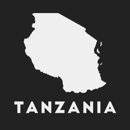 Tanzania icon. Country map on dark background. Stylish Tanzania map with country name. Vector illustration.