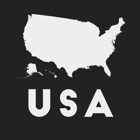 USA icon. Country map on dark background. Stylish USA map with country name. Vector illustration.