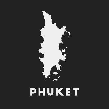 Phuket icon. Island map on dark background. Stylish Phuket map with island name. Vector illustration.