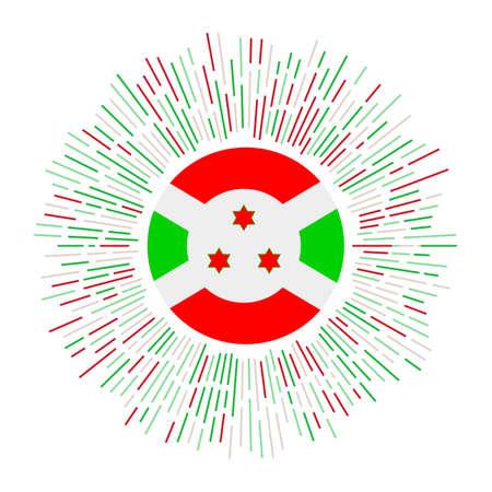 Burundi sign. Country flag with colorful rays. Radiant sunburst with Burundi flag. Vector illustration.