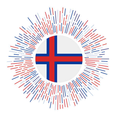 Faroes sign. Country flag with colorful rays. Radiant sunburst with Faroes flag. Vector illustration.