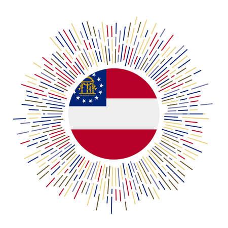 Georgia sign. Us state flag with colorful rays. Radiant sunburst with Georgia flag. Vector illustration.