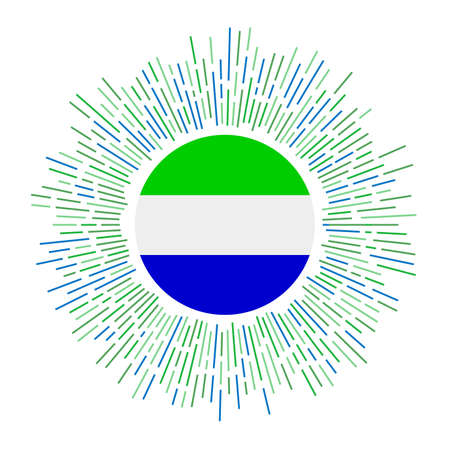 Sierra Leone sign. Country flag with colorful rays. Radiant sunburst with Sierra Leone flag. Vector illustration.