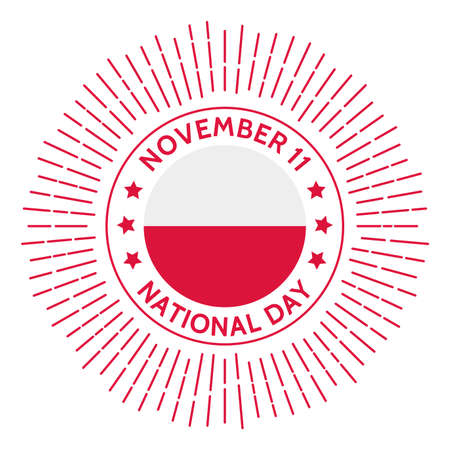 Poland national day badge. Restoration of Polands independence in 1918 after 123 years of partitions by Russia, Prussia, and Austria. Celebrated on November 11.