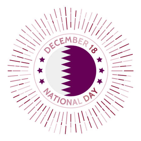 Qatar national day badge. Original independence from the United Kingdom on 7 September. Celebrated on December 18.
