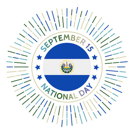 Republic of El Salvador national day badge. Independence from Spain in 1821. Celebrated on September 15.
