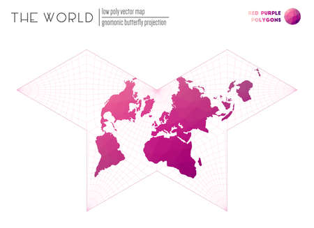 Vector map of the world. Gnomonic butterfly projection of the world. Red Purple colored polygons. Modern vector illustration.
